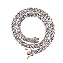 TOPGRILLZ Miami 10mm Prong ustawienie kubański Link Chain złoty srebrny naszyjnik Iced Out cyrkonia Bling Hip hop dla mężczyzn biżuteria(China)