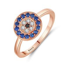 KALETINE czysta 925 Sterling Silver Rings dla kobiet szczęście Evil Eye Charm niebieski CZ palec złote pierścienie mężczyźni pierścionek zaręczynowy ślubne biżuteria(China)