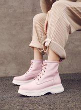 Fujin แท้รองเท้าหนังผู้หญิงยาว WARM Plush Booties รองเท้าแฟชั่นรองเท้าบู๊ตรถจักรยานยนต์ข้อเท้า Elegant ฤดูหนา...(China)