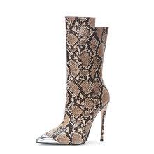 MORAZORA 2020 big size 45 vrouwen mid kuit laarzen slang spitse neus Metalen herfst winter laarzen vrouw hoge hak party bruiloft schoenen(China)