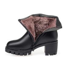 Asumer 2020 Mới Mùa Đông Ủng Mũi Tròn Zip Nữ Mắt Cá Chân Giày Cao Gót Vuông Giày Giữ Ấm Lông Cừu giày Bốt Nữ(China)