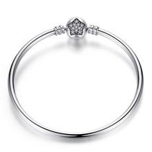 Pulseira 925 סטרלינג כסף צמיד Femme Snowflake לב כחול עין Femme נחש שרשרת צמידים & צמידי נשים תכשיטים(China)