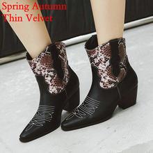HTUUA Neue Marke Bestickt Westlichen Cowboy Stiefel für Frauen Platz Med Heels Kurze Stiefeletten Herbst Winter Schuhe Frau SX3363(China)