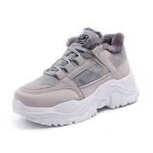 Fujin Nữ Giày Thể Thao Mùa Đông Giày Sang Trọng Lông Ấm Nữ Giày Nữ Buộc Dây Giày Bốt Nữ Comrfortable Nền Tảng Giày N(China)