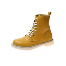 Kadınlar sarı çizmeler kadın 2019 moda bayan deri Martin çizmeler kadın çizmeler kadın Martens bayan çizme kadın(China)