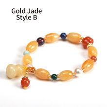 JD оригинальный дизайн натуральный Золотой нефритовый браслет для женщин йога медитация балансировка ювелирных изделий подарок для нее 18-19 ...(China)