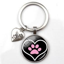 أزياء لطيف الحيوان باو طباعة المفاتيح القط الكلب أحب الزجاج قلادة البسيطة القلب كيرينغ سيارة مفتاح رجل فتاة المفضلة هدية تذكارية(China)
