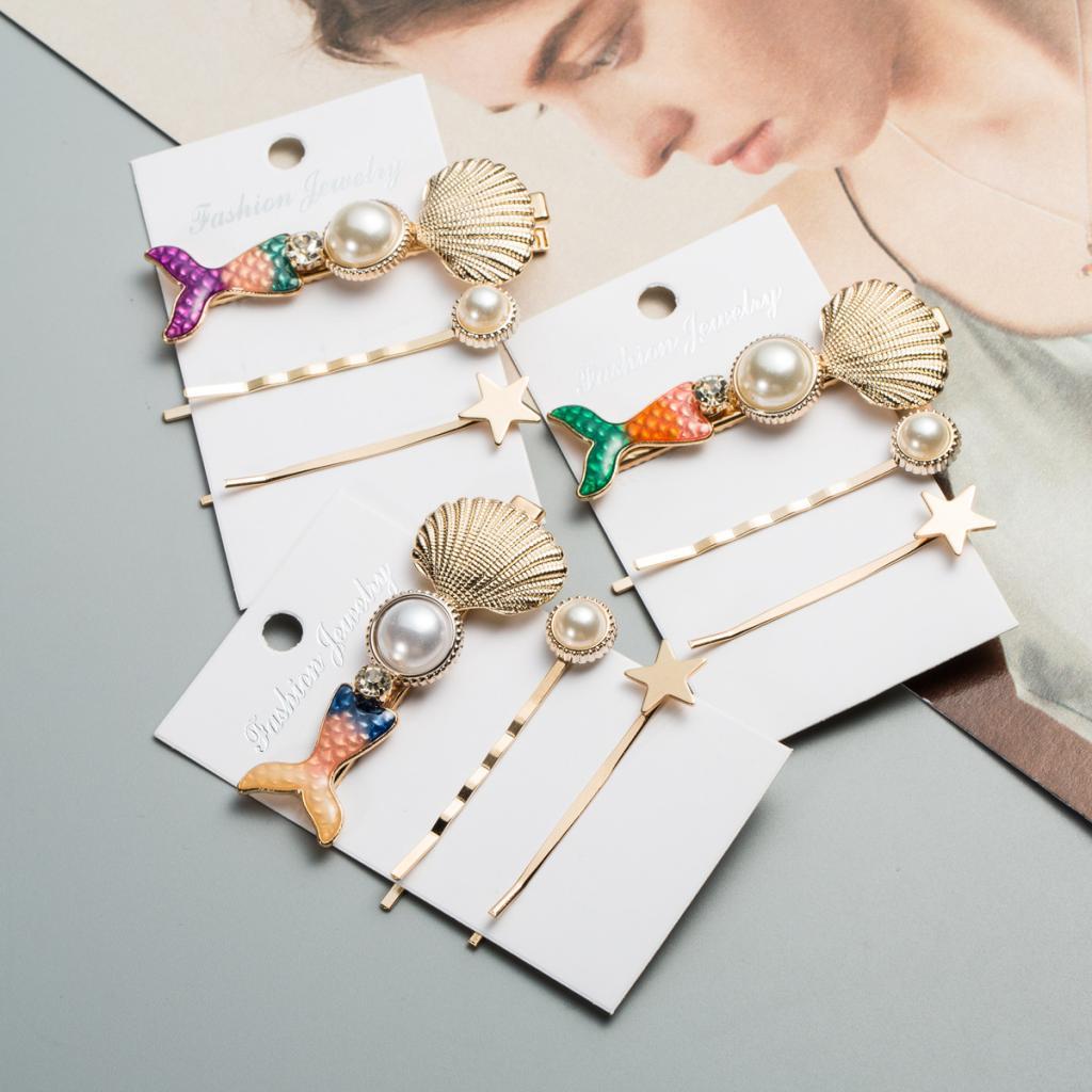 3pcs pearl mermaid Barrette hair clip hair pins hair jewelry