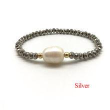Ręcznie robione elastyczne kryształowe słodkowodne bransoletki z pereł dla kobiet biżuteria boho bransoletka prawdziwe perły biżuteria prezent dla kobiet(China)