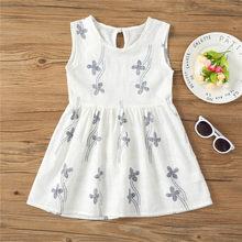 Детские платья для девочек, летнее платье без рукавов для девочек, платье принцессы с цветочным принтом для малышей, одежда для детей 1, 2, 3, 4, ...(China)