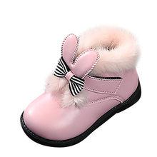 Enfants hiver bottes de neige bébé filles belle moelleux lapin oreille bottine enfants qualité Pu cuir chaud en peluche chaussures neige chaussons(China)
