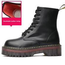 Thương Hiệu cao cấp Mới Thời Trang nữ Da Bò Giày Da Mùa Đông Nữ Đồng Màu Giày Bốt Martin Ngắn Bông Ấm Áp Giày(China)