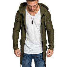 Puimentiua Nieuwe Mens Hooded Solid Trench Jas Jas Vest Met Lange Mouwen Uitloper Mannelijke Herfst Winter Slim Fit Lange Jas Tops(China)
