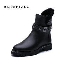 BASSIRIANA kış Yeni .. Kar botları. Doğal kürk sıcak tutmak için. Нескользкий alt. Metal deri. Moda Yeni.(China)