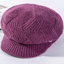 HT2611 Otoño Invierno sombreros señoras boinas mujeres conejo piel sombrero grueso cálido polar forrado de punto sombrero mujer Newsboy gorra boina sombrero(China)