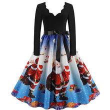 Modna sukienka świąteczna damska z długim rękawem świąteczna z nadrukiem z nutami Vintage sukienki rozkloszowane szata pull femme hiver # guahao(China)