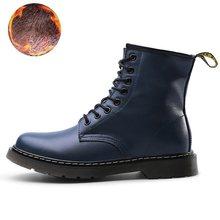 Giày Bốt Nữ Da Thật Chính Hãng Da Mắt Cá Chân Giày Bốt Martin Cho Nữ Tiến Sĩ Xe Máy Giày Mùa Thu Đông Giày Cặp Zapatos Mujer(China)