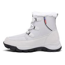 Inverno botas femininas mulher couro genuíno quente pele plana à prova dwaterproof água neve tênis de pelúcia botas casuais femininas zapatos de mujer(China)