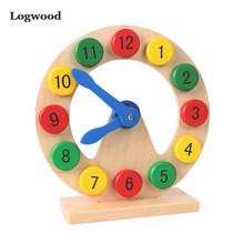 Preschool Baby Montessori Toys Early Education Teaching Aids Math Toys Digital Clock Wooden Toy Count Geometric Shape Matching(China)