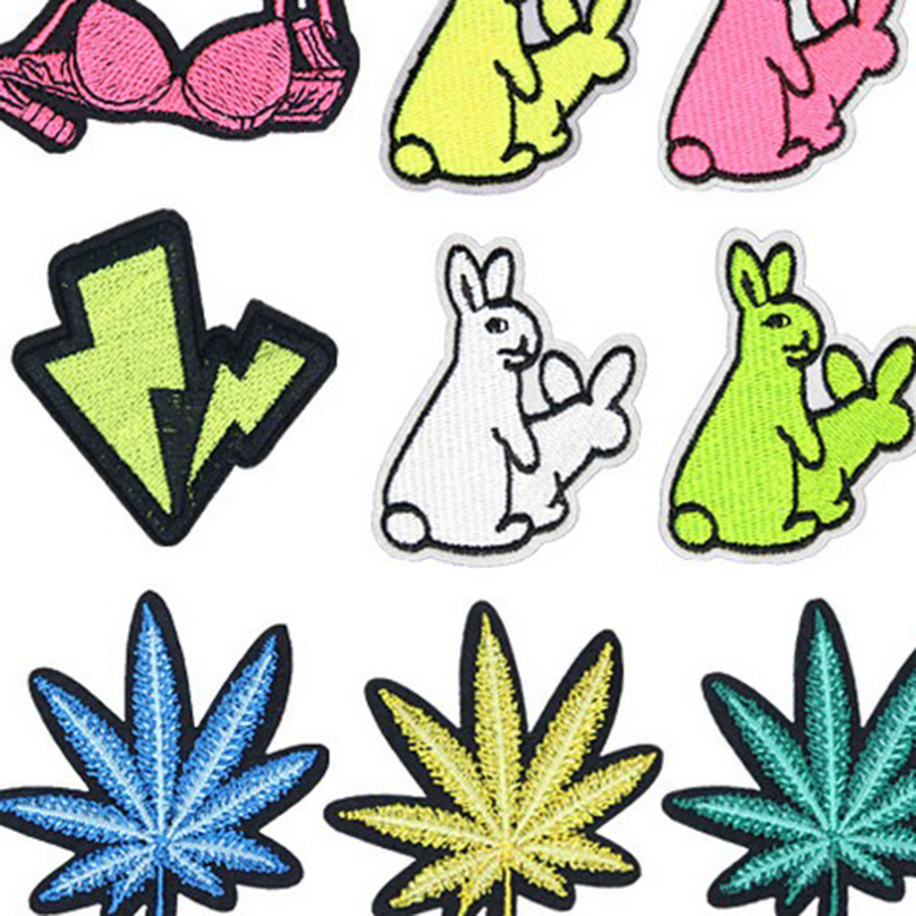 16x Embroidered Patches Embroidery Applique Hat Bags Clothes DIY Fabric Stickers  shoes bags repair patch Iron On Patches DIY