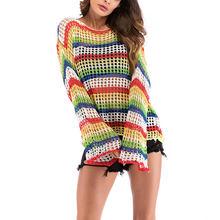 Women Casual Rainbow Stripe T Shirt For Girls sweater Female Shirt O-Neck Long Sleeved Ladies blouse Woman Tops Feminine(China)