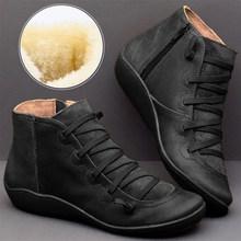 MCCKLE Weihnachten Frauen Stiefeletten frauen Vintage Zipper Lace Up Damen Schuhe Frau Retro Arbeits Stiefel Weibliche Schuhe Neue(China)