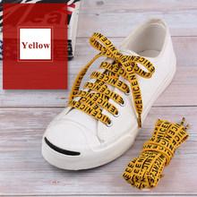1 paire lettre imprimé plat lacets mode décontracté Sports plein air toile baskets lacets femmes hommes chaussures cordes 100-160cm(China)