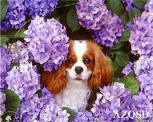 AZQSD картина маслом по номерам собачий цветок набор рисование на холсте стены искусства окраска животных ручная роспись DIY подарок домашний ...(Китай)