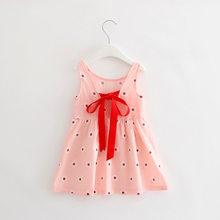Летнее платье для девочек, детские хлопковые платья без рукавов, детское платье с принтом вишни для девочек, модная одежда для девочек(China)