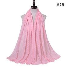 Luxe pom pom bulle mousseline de soie hijab écharpe femmes longue châle enveloppement musulman bandeau maxi islamique Sjaal 180*70cm(China)
