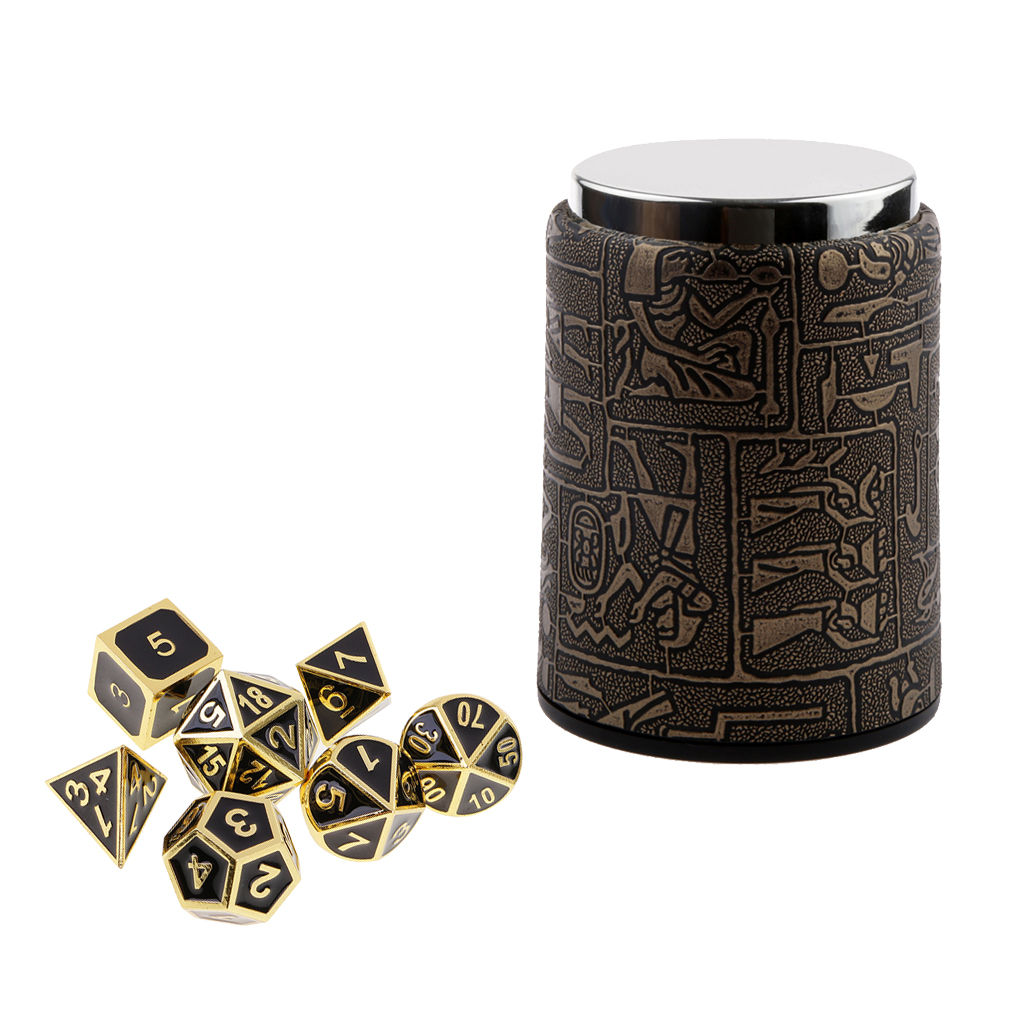 7 pieces Metal Polyhedral Dice for Dungeons & Dragons Dice Table Games RPG MTG+Dice Cup #1