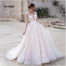 Sevintage Иллюзия длинный рукав Совок принцесса свадебное платье Бохо Кружева Аппликации невесты платье корт Поезд халат De Mariee 2020(China)