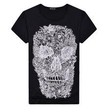 白 tシャツ 3D スカル tシャツユニセックス男性 Tシャツ男性トップ夏 Tシャツ品質 Camiseta 半袖 O ネックヒップホップクール Tシャツ男(China)