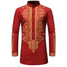 2019 nouveautés coupe cintrée homme chemise hommes ethnique imprimé col montant coloré rayure manches longues ample Henley chemise(China)
