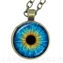 2018 חדש טרנדי חתול עיני אמנות תמונה עיניים רעות שרשרת 25mm זכוכית קרושון סוודר שרשרת מתנה לחברים תלמיד של העין(China)