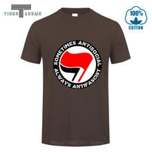 Antifa anarquista antifascista anarquista t camisas paz bandeira 3d símbolo manga curta camiseta moda impressão topos t camiseta masculina(China)