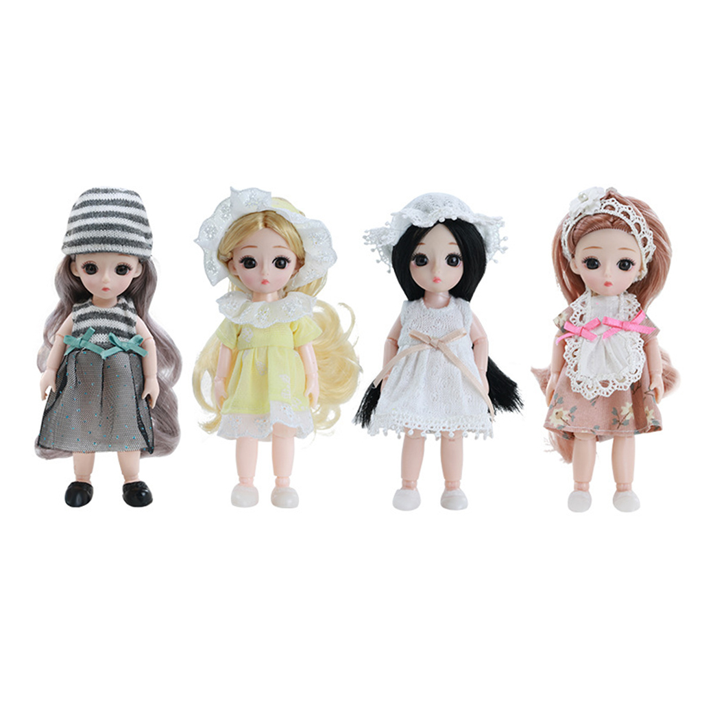 16cm BJD Doll 13 Ball Jointed Girl Dolls Face Wig Clothes Makeup Toys FULL SET