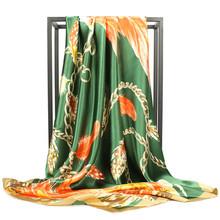 O CHUANG bufanda de seda moda Fular chal satinado bufandas tamaño grande 90*90cm cuadrado de seda pelo/cabeza bufandas mujeres bandana(China)