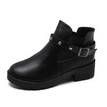 Kadın yarım çizmeler perçin sonbahar Chelsea çizmeler bayanlar toka kayış kadın konfor kalın orta topuklu moda kadın ayakkabısı bayanlar(China)