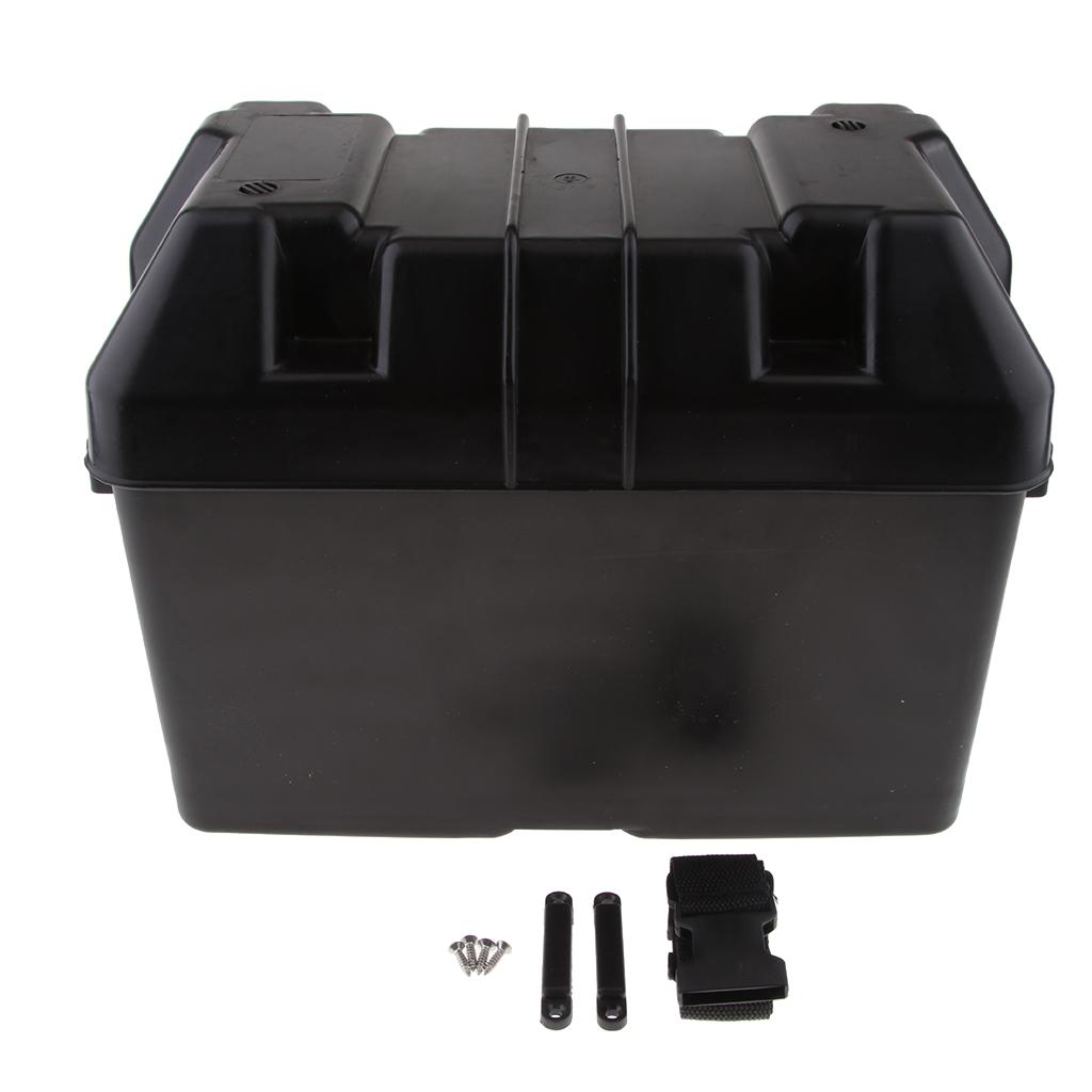 Car RV Boat Marine Smart Battery Box Power Guard Storage Case w/ Strap