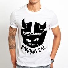 ויקינגים רגנר Lodbroks חתול מצחיק t חולצה גברים קיץ חדש לבן מזדמן homme מגניב streetwear יוניסקס חולצת טי(China)