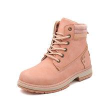 Novo inverno sapatos casuais mulheres tornozelo botas de neve cunhas de couro do plutônio quente plataforma de borracha de pelúcia rendas até sapatos femininos sexy botas mujer(China)