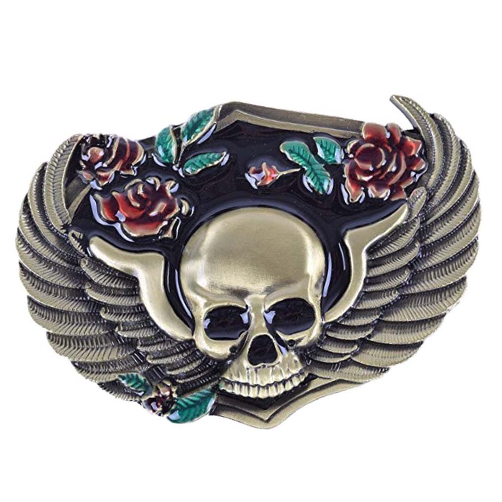 Oval Vintage Gothic Flower Skull Medieval Belts Buckle Rodeo Cowboy Gifts