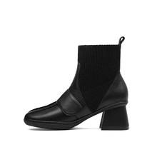SOPHITINA Thiết Kế Đặc Biệt Giày Bốt nữ Da Thật Cao cấp Chính Hãng Mới Mũi Tròn Giày Thoải Mái Tròn Gót Chắc Chắn Giày MO259(China)