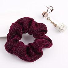 1PC Glitter Metalic Scrunchies ผู้ถือหางม้าสำหรับผู้หญิงเงาวงยางหญิงผม Tie อุปกรณ์เสริมผมหมากฝรั่งสำหรับผ(China)
