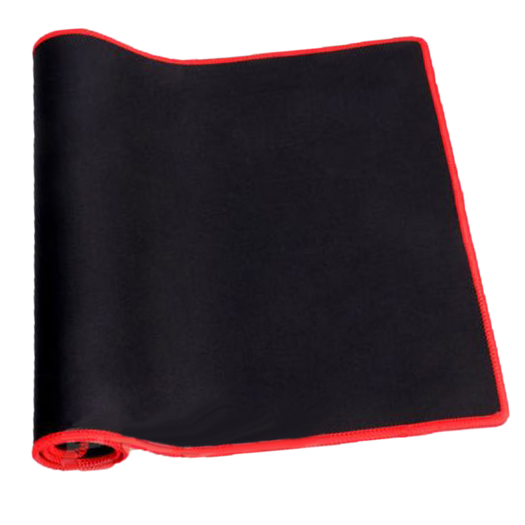 PC Laptop Computer Rubber Gaming Mouse/Keyboard Pad Mat Red-edge Black