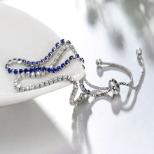 New 925 Silver Bracelets with Blue Black Green Cubic Zirconia Fashion Jewelry for Female Adjustable Chain Bracelet Wedding Gifts(China)