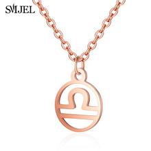 SMJEL or Rose étoile signe du zodiaque colliers pour femmes en acier inoxydable bijoux 12 Constellation chaîne collier hommes Choker bijoux(China)