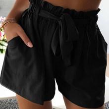 Musim Panas Wanita Tinggi Pinggang Celana Pendek dengan Sabuk Lebar Kaki Hitam Warna Solid Wanita Celana Pendek 2020 Plus Ukuran 3XL Kasual wanita Hot Celana Pendek(China)