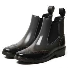 HTUUA Brogue Chelsea yağmur çizmeleri Kadın Sonbahar Su Geçirmez Kalın Taban Kısa Ayak Bileği Martin lastik çizmeler kadın yağmur ayakkabıları SX3268(China)